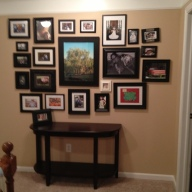 Upstairs Hallway back photo wall wide view