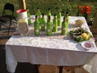 Pink and green chevron wine tablescape. Delta Zeta Wine Tasting Party