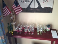 Tasting glasses all marked with ribbon and washi tape. Patriotic Flag and Cork Hurricane
