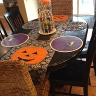 Kitchen Table. Runner is fabric from Joann cut lengthwise with pinking shears.