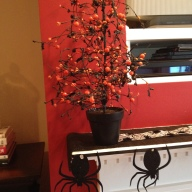 Halloween Mantel 2013 Bat trees are from 1730 Outlet