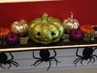 Halloween Mantel. Glitter Pumpkins and Spider Garland from Target