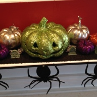Halloween Mantel. Glitter Pumpkins and Spider Garland from Target