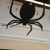 The spider garland is felt and glittery on a very pretty ribbon. $6 Target right now :-)