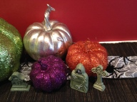 Halloween Mantel close up. Runner is a black cloth and bamboo i got at 1730 Outlet and cut up into a few pieces.