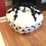 Painted craft pumpkin, ribbon, fluffy spider