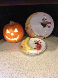 Kitchen Counter Corner for Halloween. Witch Platters and a Jack-o-lantern