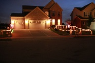 Ghosts on Garage and Spooky yard with DIY fencing