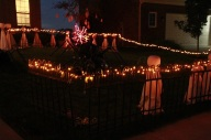 A really pretty picture of the fencing and ghosts from the corner of the yard