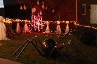 PVC Pipe Racing Spider lit up at night