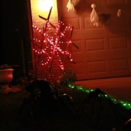 Spider Net Lights hung from tomato cages and old raised garden bed grid. Green Lights for Start Line
